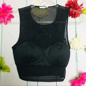 Lush Mesh Embroidered black crop top size small.